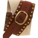 Aeropostale Elastic Stud Waist Belt S/M Brown Style 9286 $29.50 NEW