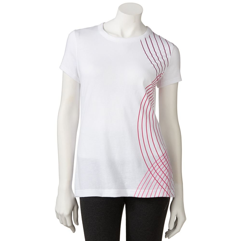 Breast cancer awareness tek gear printed performance tee t for Extra tall white t shirts