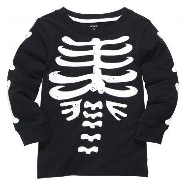 NEW 3T Carter's Skeleton Graphic Halloween Tee - Toddler Top Black $16
