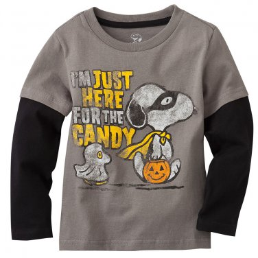 NEW 3T Peanuts Here for the Candy Tee - Toddler Top Gray $16