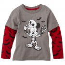 NEW 3T Gray Disney Mickey Mouse Skeleton Mock-Layer Tee - Toddler Top Toddler $16