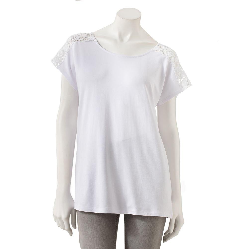 Womens White Crochet Trim Top or Shirt by Dana Buchman Medium M NEW $40