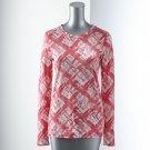 Vera Wang Womens Breast Cancer Awareness PLAID TEE T-Shirt Small S Long Sleeves NEW