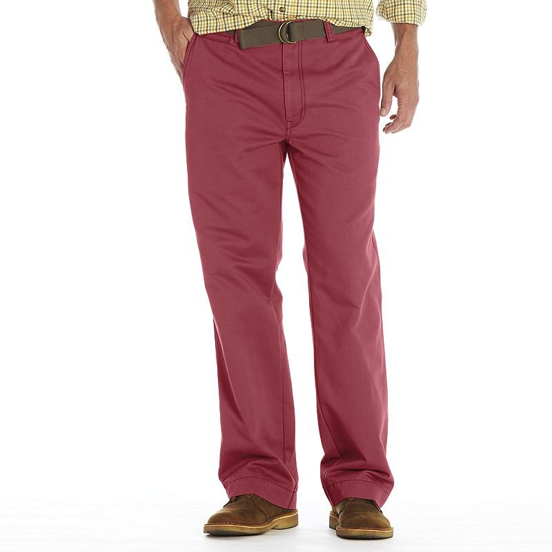 NEW Mens Haggar Life Berry Chino Relaxed Straight-Fit Flat-Front Pants 30 x 32 $65