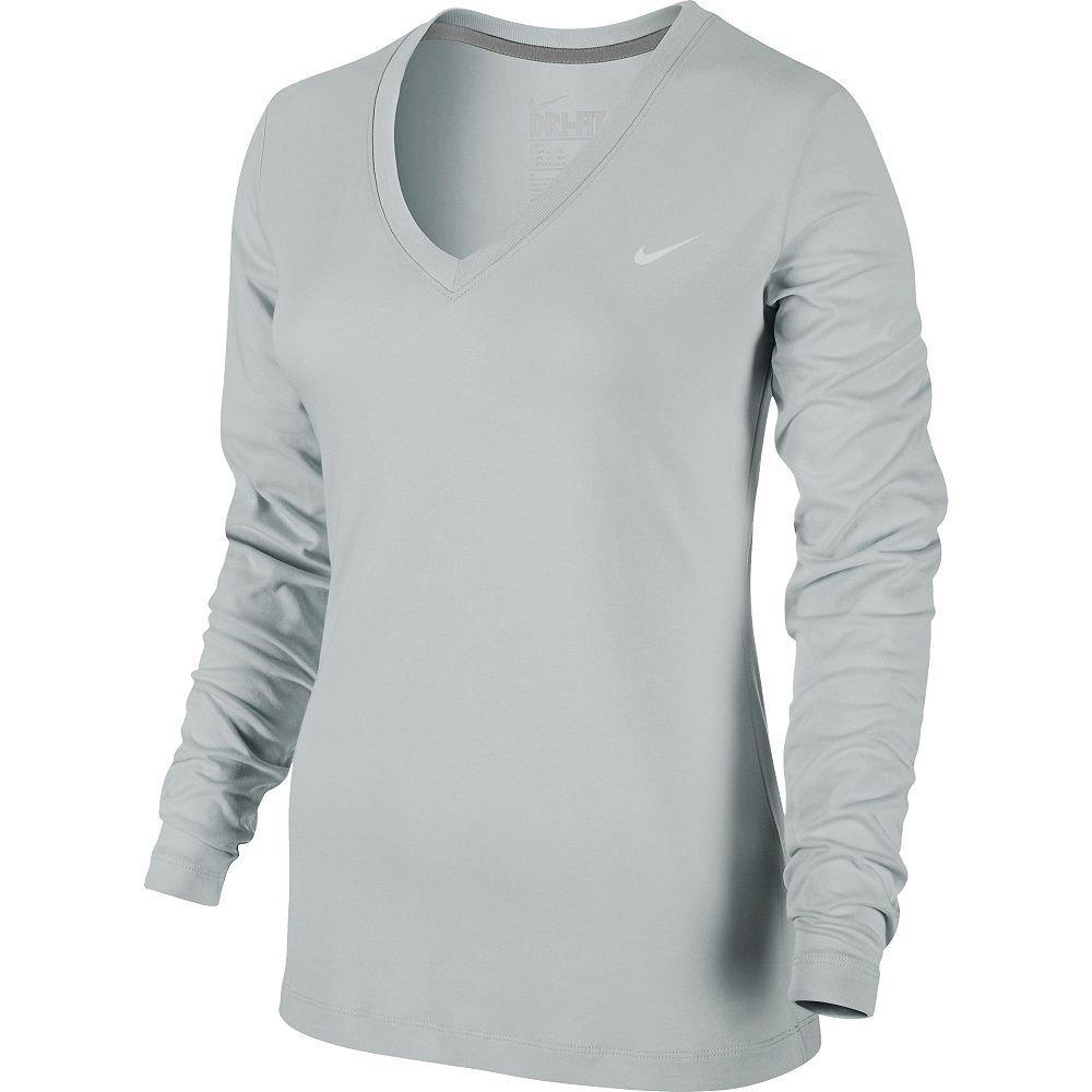 Nike Dri-Fit Performance Tee Long Sleeve Heather Gray Large L NEW $28