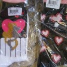 New 2 Pair Socks Valentines Black Hearts and Kitten Hearts NEW