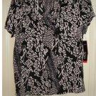 NEW Rafaella Petites Womens Large Petite or PL Printed Black Knit Top Shirt $43