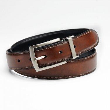Mens Reversible Leather Black Brown Dress Business Edge Stitch Belt Sz 42 NEW