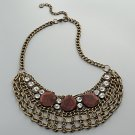 NEW Simply Vera Vera Wang Gold Tone Wood Link Bib Style Necklace $36