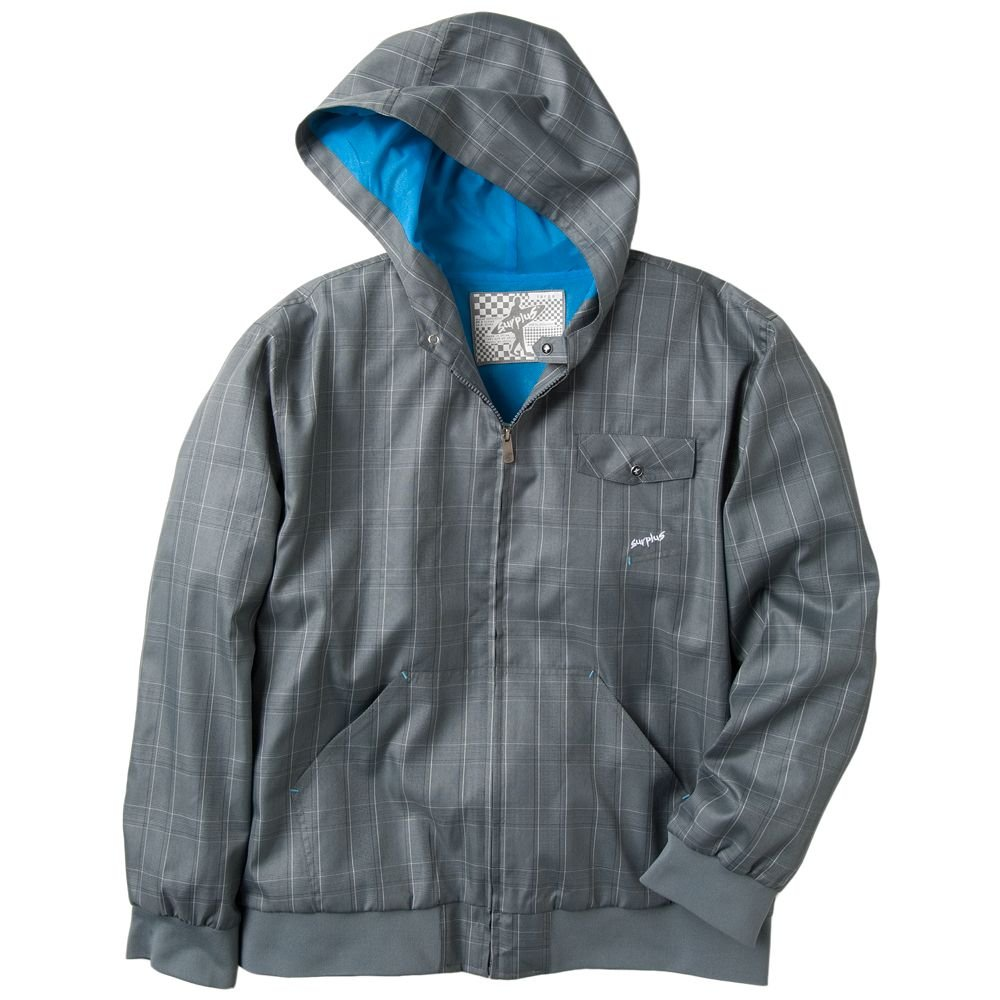 Mens Plaid Hoodie Hooded Jacket by Surplus Gray Plaid Size Small or S NEW $68