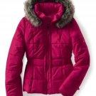 NEW Womens Puffer Jacket Coat Fur Hood Aeropostale Small Fuchsia Red Jrs $119.00