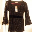 Womens Black Sheer Lined Tie Back Sparkle Scoop Neck Top NEW Small
