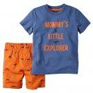 NEW Baby Boy Carters Mommy's Little Explorer 2 Pc Set - 12 Months Blue Orange