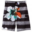 Mens L Large Hang Ten Heathered Hibiscus Striped Board Shorts NEW $40