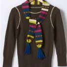 SO Juniors Sz. Large Brown Stripe Sweater + Scarf Set 3/4 Sleeve NEW
