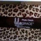 "Lila Grace Photo Clutch, Holds 16-4""x6"" Photos Leopard Print NEW"