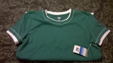 St John's Bay Active Layer Look Medium Green Womens Small S Everyday Tee Shirt NEW $16