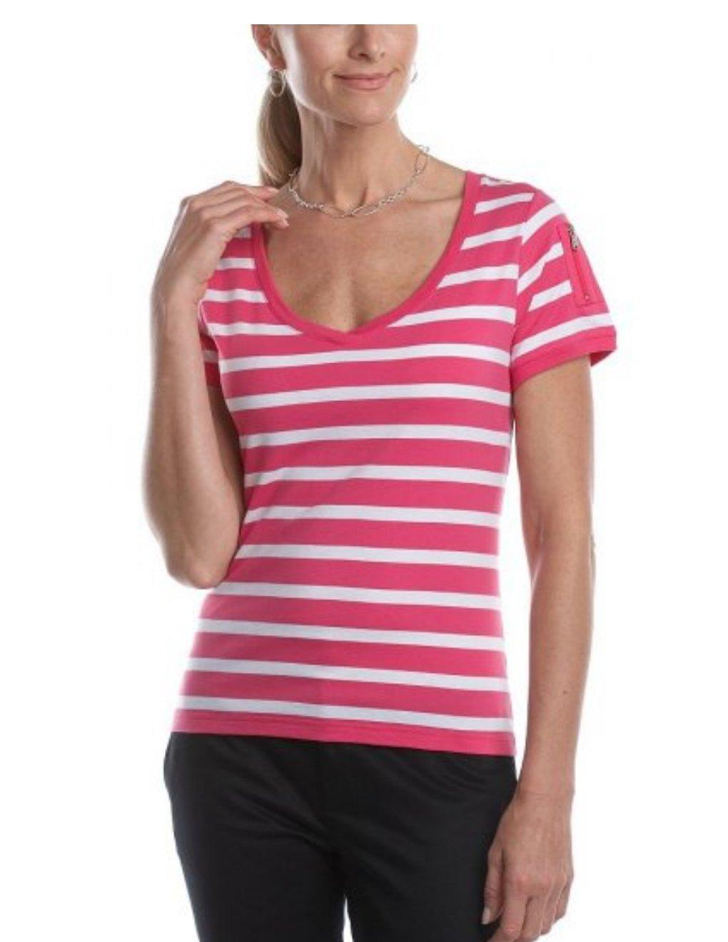 Chaps Striped Tee or Shirt Poppy White Womens Top NEW Sz Medium M