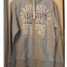 Aeropostale Mens 1987 Graphic Full-zip Hoodie in Gray Size Medium Raw Edge NEW # 3141