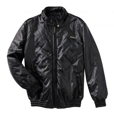 NEW Men's Extra Large XL Enyce Black Bomber Jacket Faux Leather