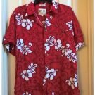 Vintage ME Sport Mens Tropical Hawaiian Casual Button-Front Shirt Top M Red Pre-Owned