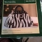NOS Holiday Time Cookie Jar/Purse Black White Zebra Print Silver Hardware