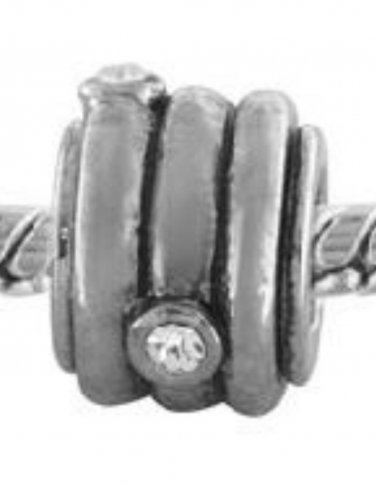 NEW PUGSTER Silver Tone Circle Wrapped Rhinestone European Style Bead $20