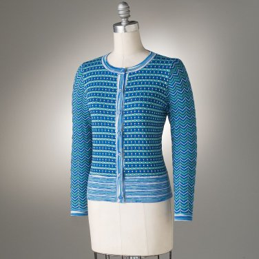 Womens Bright Blue Cropped Striped Cardigan Sweater by Axcess Medium NEW
