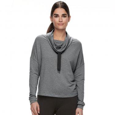 NEW Womens Sz Small Tek Gear Zip Back Cowlneck Sweatshirt Gray Light Weight
