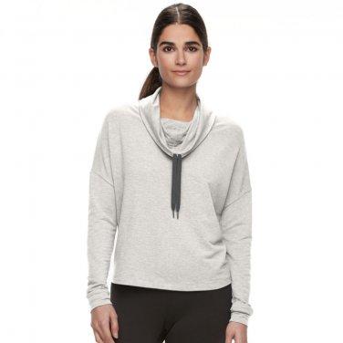 NEW Womens Sz Small Tek Gear Zip Back Cowlneck Sweatshirt Light Gray Light Weight