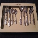 Oneida Cosmic 45 Piece Service for 8 + Serving Set Stainless Steel 18/0 Disc. NEW in BOX