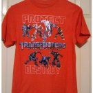 Vintage Large L Boys Protect Destroy Transformers SS Tee New w/Tags Orange Collectible