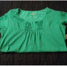 Old Navy Girls Green Heart Print Mixed Media Split Neck Tee or Top Sz Extra Large XL NEW