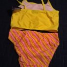Joe Boxer Swim Suit Swimsuit 2 pc Tankini for Girls Size 7/8 Yellow Pink Floral Stripe