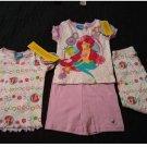 Disney Ariel Mermaid 4 Piece Pajama Set Sleepwear Size 4T Pants Shorts Tops NEW