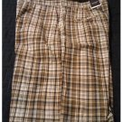 NEW Mens Plaid Shorts in Brown Black Sz. 36 Flat Front Sonoma Brand $36.00