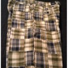 NEW Mens Plaid Patchwork Shorts in Brown Black Sz. 34 Flat Front Sonoma Brand $36.00