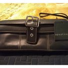 NEW Black Leather Silver Buckle Clutch Wallet Billfold by Apostrophe Wrist Strap