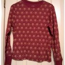 SONOMA Womens Patterned Long Sleeve Top or Shirt Size Medium Petite Rust Heather NEW $22.00