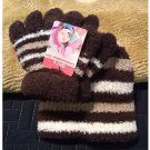 Girls Coldweather Set - Hat and Stretch Gloves Brown Stripe OSFA by Goldmedal NEW