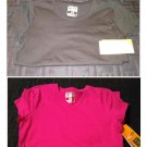 NEW Lot of 2 Womens XS Black & Fuchsia Duo Dry Work-Out Tees by Champion C9 Long and Lean Fit