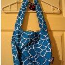 Joe Boxer Cloth Handbag Purse Tie Top Sling Style Shoulder Bag Blue Maui Wowi NEW