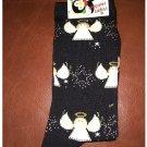 Women's Christmas Crew Socks - Black All Over Angel Pattern Shoe Size 4-10 NEW