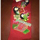 Women's Christmas Crew Socks - Red with Penguins  & Presents Shoe Size 4-10 NEW