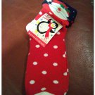 Women's Christmas Ankle Socks - Red with Polka Dot Pattern & Santa  Cuff Shoe Size 4-10 NEW