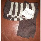 New Lot of 2 Crew Length Socks Brown Stripe & Brown by Merona Sz 4-10 Casual Socks NEW