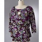 Womens Banded Bottom Mosaic Style Top Purples Small NEW Ab Studio Brand
