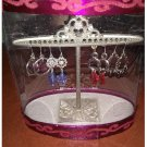 NEW 4 Inch Crown Crest Earring Tree in Gift Box with 4 Pairs Earrings Silver Tone Embellished