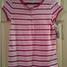 Girls PINK Stripe Henley Stretch Short Sleeve Tee Top XL 14/16 # 214465 Prospirit NEW