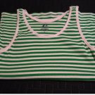 ProSpirit Green White Stripe Ribbed Tank Top Shirt Top Womens Small NEW
